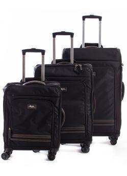 Set de 3 valises souples 8 roulettes Alpha Alpini Noir