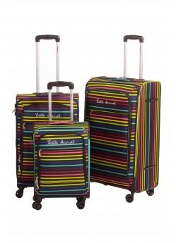Set de 3 valises Souples 8 roulettes Rayure Little Marcel