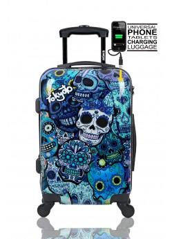 Valise cabine Rigide 4 roulettes Blue Skulls + Power Bank Tokyoto Luggage