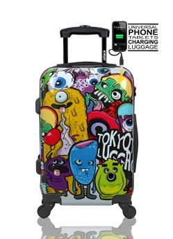 Valise cabine Rigide 4 roulettes Monsters & Zombies + Power Bank Tokyoto Luggage