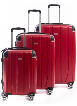 Set de 3 valises Rigides 8 roulettes Horizon2.6 Alpini rouge